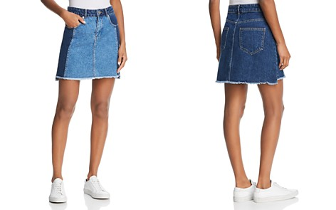 FRENCH CONNECTION Laos Denim skirt in Two-Tone Blue - Bloomingdale's_2