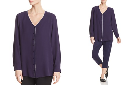 Eileen Fisher Piped Silk Top - Bloomingdale's_2