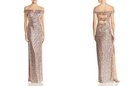 Aidan by Aidan Mattox Off-the-Shoulder Sequined Gown - Bloomingdale's_2