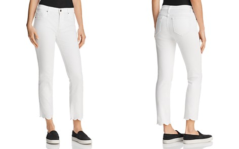 AQUA Cropped Scallop-Hem Jeans in White - 100% Exclusive - Bloomingdale's_2