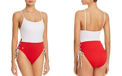 Polo Ralph Lauren Color-Block Side Lace One Piece Swimsuit - Bloomingdale's_2