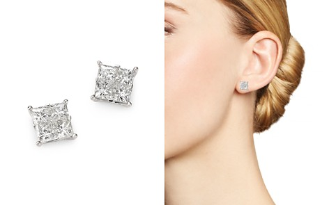 Bloomingdale's Diamond Seamless Princess-Cut Studs in 14K White Gold, 2.50 ct. t.w. - 100% Exclusive _2