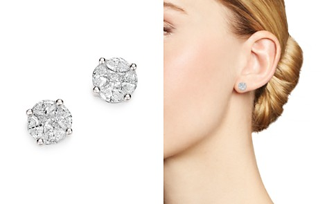 Bloomingdale's Diamond Cluster Stud Earrings in 14K White Gold, 1.0 ct. t.w. - 100% Exclusive _2