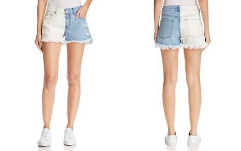 7 For All Mankind Color-Block Cutoff Denim Shorts in Cloud Sky - Bloomingdale's_2