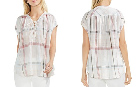 VINCE CAMUTO Crinkled Plaid Lace-Up Top - Bloomingdale's_2