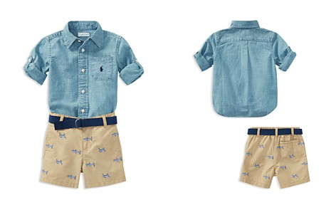 Ralph Lauren Boys' Chambray Shirt, Belt & Shark-Embroidered Shorts Set - Baby - Bloomingdale's_2