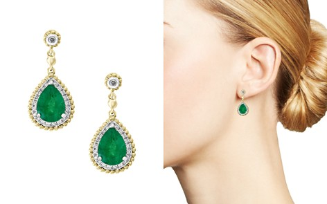Bloomingdale's Emerald & Diamond Beaded Earrings in 14K White & Yellow Gold - 100% Exclusive _2