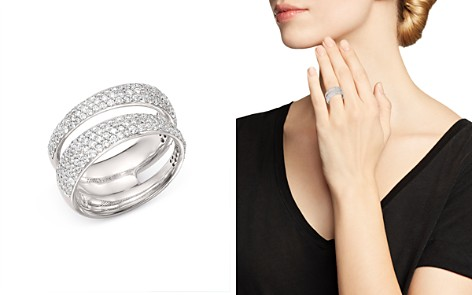Roberto Coin 18K White Gold Scalare Double Pavé Diamond Ring - Bloomingdale's_2