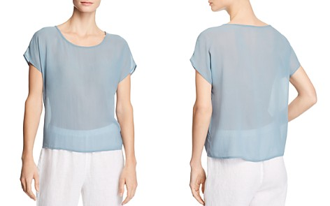 Eileen Fisher Sheer Silk Top - Bloomingdale's_2