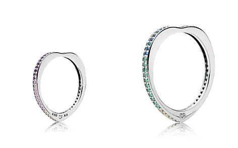 PANDORA Sterling Silver & Multicolor Cubic Zirconia Arc of Love Ring - Bloomingdale's_2