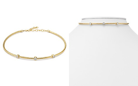 Bloomingdale's Diamond Cluster Trio Cable Choker Necklace in 14K Yellow Gold, 0.20 ct. t.w. - 100% Exclusive _2