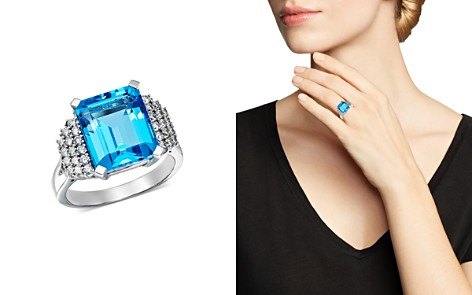 Bloomingdale's Blue Topaz & Diamond Row Statement Ring in 14K White Gold - 100% Exclusive _2