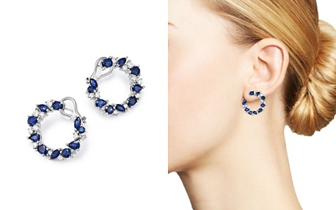 Bloomingdale's Blue Sapphire & Diamond Circle Earrings in 14K White Gold - 100% Exclusive _2