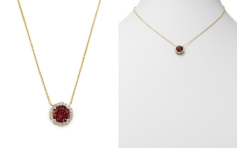 """Bloomingdale's Pink Tourmaline & Diamond Halo Pendant Necklace in 14K Yellow Gold, 16"""" - 100% Exclusive _2"""