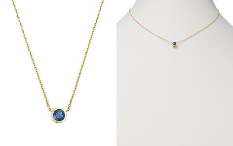 "Bloomingdale's Sapphire Bezel Pendant Necklace in 14K Yellow Gold, 16"" - 100% Exclusive _2"