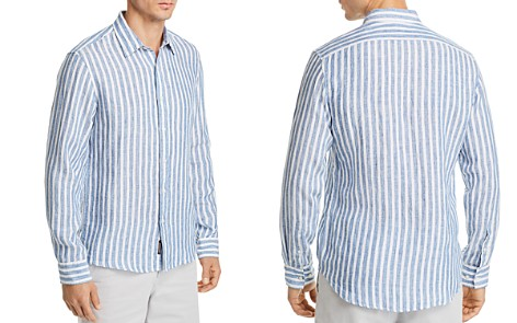 Michael Kors Striped Linen Slim Fit Button-Down Shirt - Bloomingdale's_2
