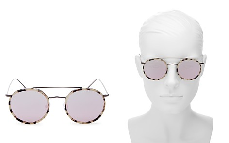 Illesteva Women's Allen Brow Bar Mirrored Round Sunglasses, 50mm - Bloomingdale's_2