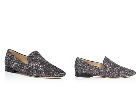 Jimmy Choo Women's Jaida Glitter Square Toe Smoking Slipper Flats - Bloomingdale's_2