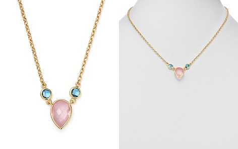 "Bloomingdale's Rose Quartz & Blue Topaz Pendant Necklace in 14K Yellow Gold, 18"" - 100% Exclusive _2"
