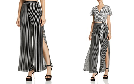 AQUA Striped Split Wide Leg Pants - 100% Exclusive - Bloomingdale's_2