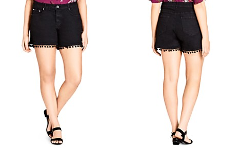 City Chic Plus Pom-Pom Trimmed Jean Shorts - Bloomingdale's_2