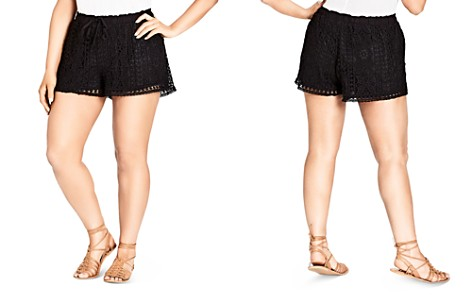 City Chic Plus Lace-Overlay Drawstring Shorts - Bloomingdale's_2