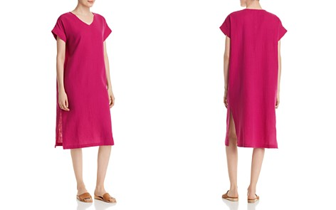 Eileen Fisher Silk V-Neck Midi Dress - Bloomingdale's_2