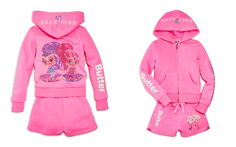Butter x Nickelodeon Girls' Shimmer and Shine© Embellished Fleece Hoodie & Shorts Set, Little Kid - 100% Exclusive - Bloomingdale's_2