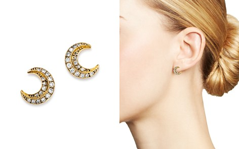 SUEL Blackened 18K Yellow Gold Crescent Moon Diamond Earrings - Bloomingdale's_2