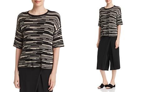 Eileen Fisher Organic Linen & Cotton Line-Print Top - Bloomingdale's_2