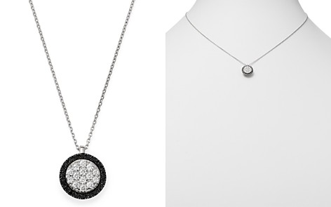 """Bloomingdale's Black & White Diamond Circle Pendant Necklace in 14K White Gold, 17"""" - 100% Exclusive _2"""