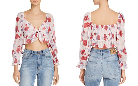 Endless Rose Floral Tie-Front Cropped Top - Bloomingdale's_2