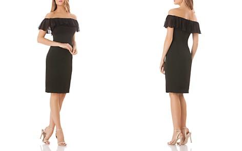 Carmen Marc Valvo Off-the-Shoulder Crepe Dress - Bloomingdale's_2