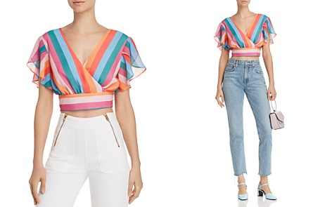 AQUA Rainbow-Stripe Faux-Wrap Cropped Top - 100% Exclusive - Bloomingdale's_2