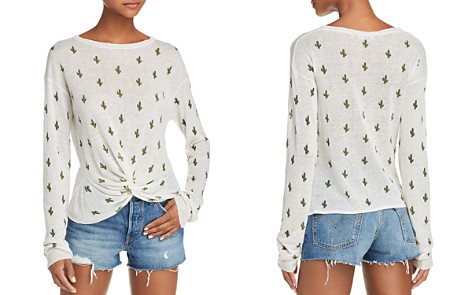 AQUA Cactus Print Twist-Front Sweater - 100% Exclusive - Bloomingdale's_2