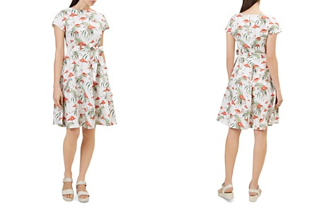HOBBS LONDON Sorrento Flamingo Print Linen Dress - Bloomingdale's_2