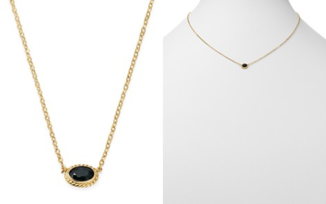 Bloomingdale's Blue Sapphire Oval Pendant Necklace in 14K Yellow Gold - 100% Exclusive _2