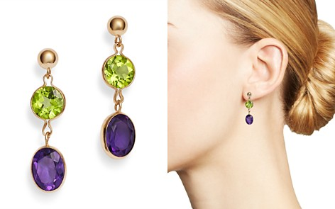 Bloomingdale's Peridot & Amethyst Drop Earrings in 14K Yellow Gold - 100% Exclusive _2