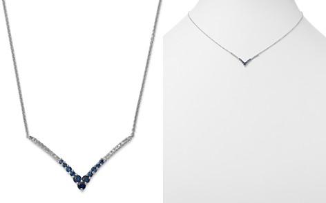 "KC Designs 14K White Gold Sapphire & Diamond Chevron Pendant Necklace, 16"" - Bloomingdale's_2"