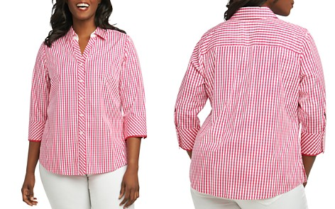 Foxcroft Plus Mary Gingham Button-Down Top - Bloomingdale's_2