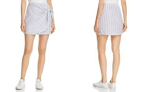 Three Dots Striped Linen Faux-Wrap Skirt - Bloomingdale's_2