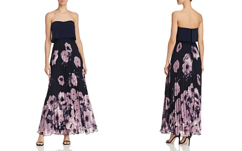 AQUA Pleated Floral-Print Strapless Maxi Dress - 100% Exclusive - Bloomingdale's_2