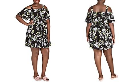 City Chic Plus Maui Frills Floral Cold-Shoulder Dress - Bloomingdale's_2