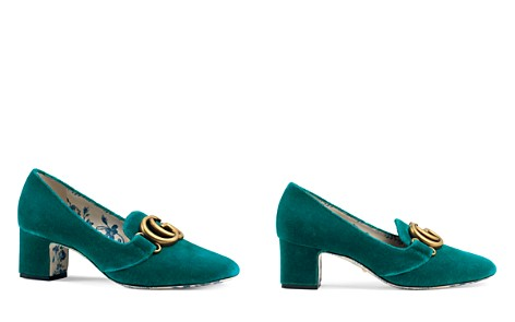Gucci Women's Velvet Double G Mid Heel Pumps - Bloomingdale's_2