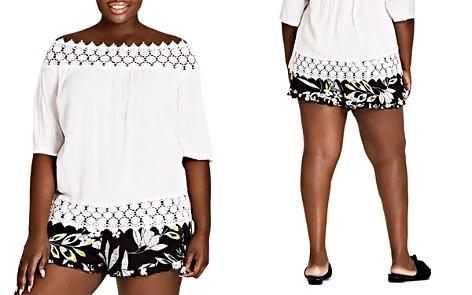 City Chic Plus Maui Floral Ruffle-Trim Shorts - Bloomingdale's_2