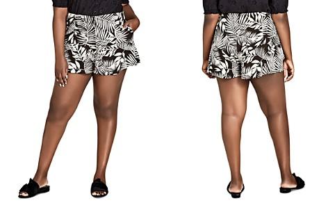 City Chic Plus Palm-Print Ruffle-Trim Shorts - Bloomingdale's_2