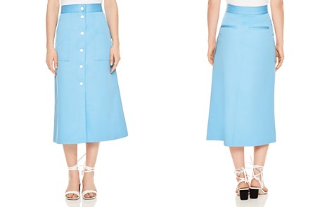 Sandro Plume Snap-Detail Cotton Midi Skirt - Bloomingdale's_2
