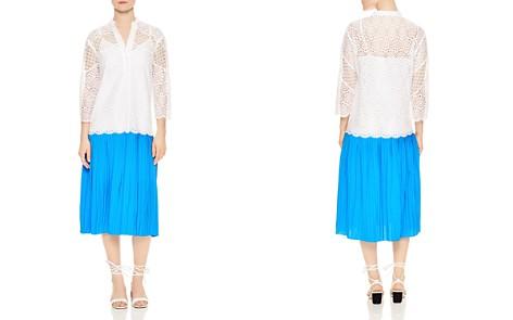 Sandro Maca Eyelet Lace Pleated Skirt Midi Dress - Bloomingdale's_2