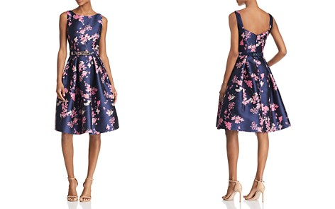 Eliza J Belted Floral Jacquard Dress - Bloomingdale's_2