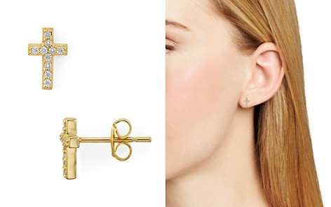 AQUA Small Cross Stud Earrings - 100% Exclusive - Bloomingdale's_2